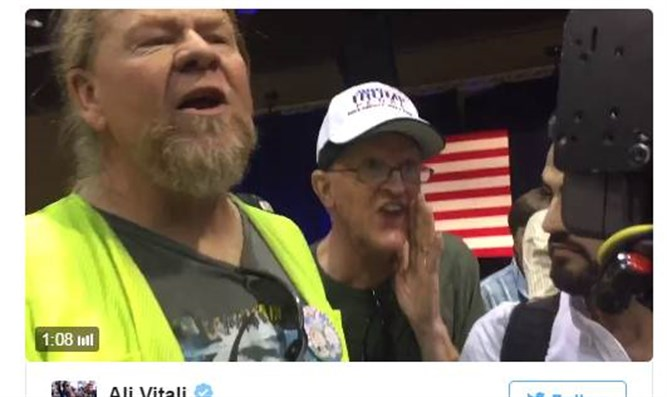 Trump supporters shout down Holocaust denier