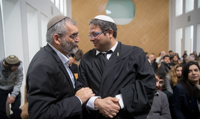 Itamar Ben-Gvir (right) and Michael Ben-Ari in Supreme Court Thursday
