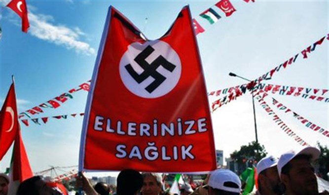 Nazi flag hoisted by Turkish flotilla backers
