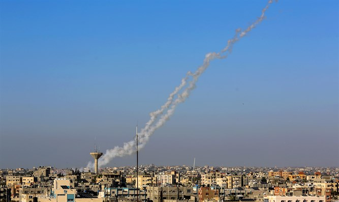 Rocket  launch from Rafah in southern Gaza Strip to Israel