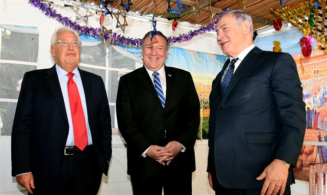 Netanyahu, Pompeo, and Friedman in a Sukkah