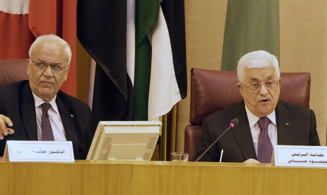 Saeb Erekat (left) and Mahmoud Abbas (right)