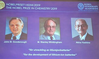 Nobel Prize in chemistry for development of lithium-ion battery