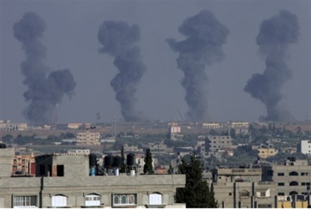 Smoke rises from Gaza airport