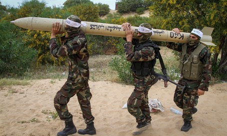 Gaza terrorists with domestic missile (illustration)