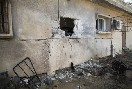 Israeli home damaged by Gaza rock
