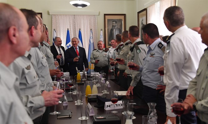 Netanyahu at Rosh Hashannah toast with IDF General Staff