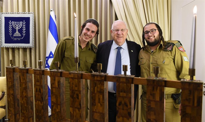 Rivlin with haredi soldiers