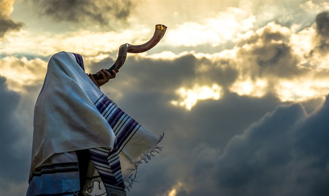 Blowing the shofar (illustrative)