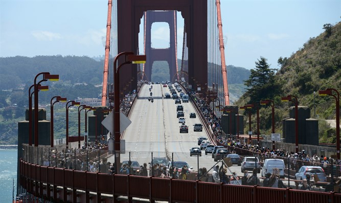Protest at Golden Gate Bridge, San Francisco